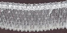 "4"" WHITE PLEATED LACE WITH BEADING FABRIC TRIM 10 YARDS"