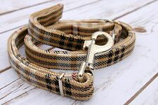 Designer Dog Puppy Lead - Plaid Print - to match collar