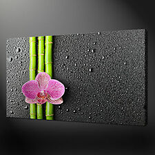"""BAMBOO ORCHID ZEN MODERN WALL DESIGN CANVAS PRINT PICTURE 20""""x16"""" FREE UK P&P"""