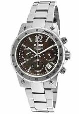 NEW A_line 80020-11MOP Women's Liebe Watch Black Dial Stainless Steel Chrono