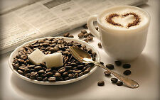 Framed Print - Cappuccino Coffee Cup Beans Sugar (Picture Poster Still Life Art)