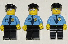 LEGO LOT OF 3 BLUE POLICE SHERIFF COP MINIFIGURES WITH BADGE CITY MINIFIGS