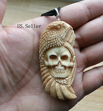 Eagle & Indian Skull Bone Carving Pendant Antique Color w/ Sterling Silver Bale