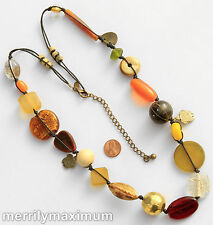 Chico's Signed Necklace Gold Tone Long Chunky Beads Turtle Charms Yellow Orange