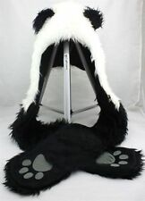 Panda Animal Hood Hoodie Hat Faux Fur 3 IN 1Function Ear long Flap Mittens Warm