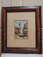 ORIGINAL SIGNED WATERCOLOR PAINTING OVER INK LISTED ARTIST M DELL WELLER