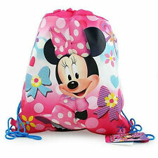 Sling Bag Tote Drawstring Non-Woven Disney Minnie Pink Bow Flower New