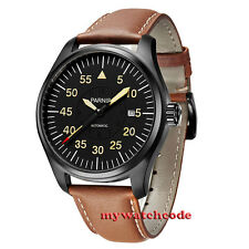 44mm parnis black dial sapphire glass PVD case miyota automatic mens watch P551