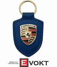 Porsche Driver's Selection Crest Keyring Key Ring Blue Leather Genuine New