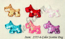 Padded Satin Sequin Scottie Terrier Gog Appliques Mix D