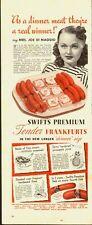 1940's Vintage ad` Swift's Premium Tender Frankurts`Mrs. Joe Di Maggio (043014)