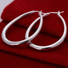 Sterling Silver Plated U Shaped Medium Hoop Women's Fashion Earrings 1 3/4""