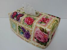 Pretty Floral Stamps Tissue Box Cover With Circle Opening - Lovely Gift