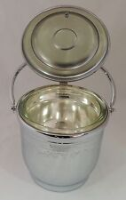 Vintage United Etched Grape Vine Chromium On Solid Brass Glass Lined Ice Bucket