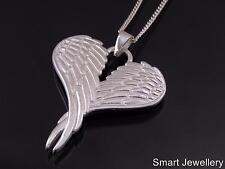 925 Sterling Silver Large Folded Angel Fairy Wing Wings Pendant Necklace