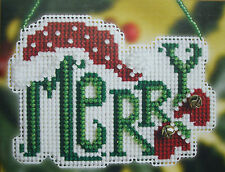 """Mill Hill Counted Glass Bead Kit  """"Merry"""" (Winter Greetings Ornament)"""