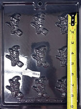 HALLOWEEN BITE-SIZED WITCH ON A BROOM  PLASTIC CHOCOLATE CANDY MOLD ECM H-317
