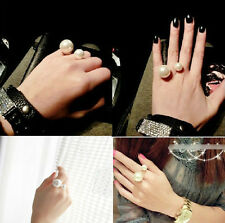 Hot Fashion Charm Elegant Double Pearl Rhinestone Golden Finger Ring Size No.5