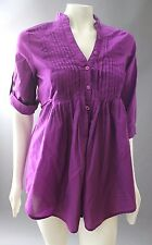 FIRE LOS ANGELES Magenta Purple Pleated Cotton TUNIC TOP Blouse Shirt M