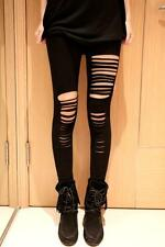 NEW WOMENS BLACK GOTHIC TORN RIPPED SLASHED LEGGINGS ROCKER PUNK SIZE 14 & 16