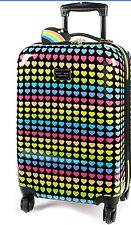 28 INCH Betsey Johnson ~Rainbow Hearts~♡♡♡Suitcase Luggage LARGE Spinner- NEW