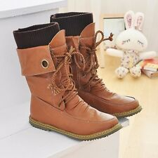 Handsome Womens Leather Flat Heels Lace Up Martin Mid-calf Plus Size Boots Shoes