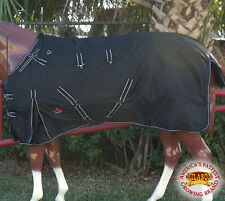"84"" HILASON 1200D RIPSTOP WATERPROOF TURNOUT WINTER HORSE SHEET BLACK WHITE"