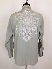 FRANKY MAX Mens Embroidered Shirt XL Monalisa 1875 Original Vintage Olive Green