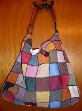 Vtg LUCKY BRAND Multicolor Patchwork Leather Large Shoulder Hobo Satchel Bag