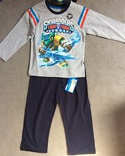 M&S GREY & BLUE LONG PYJAMAS WITH SKYLANDERS TRANSFER ON FRONT- AGE 3-4y -BNWT
