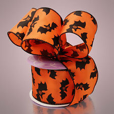 "Paper Mart Wired Floral Ribbon - Halloween Black Bats on Orange 2 1/2"" 10yd"