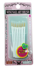 New Genuine Daiso Japan Mini Nail Art Brush 8pcs Comes With A Case Fast Shipping