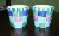 PAIR of HARLEQUIN COLOURS Hand Painted SMALL Pottery PLANT POTS Planters PLANTS
