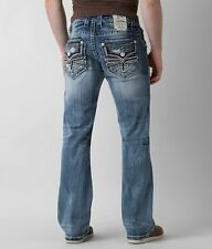 NEW MEN'S ROCK REVIVAL LEIF BOOTCUT JEANS 36 X 34
