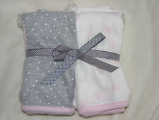 CARTERS PRECIOUS FIRSTS BABY GIRL BLANKETS CREAM WHITE PINK HEART GRAY POLKA DOT