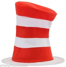 CAT IN THE HAT Dr Seuss Child Costume Top Hat Red White Striped Tricot Kids NEW