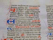 LARGE ILLUMINATED MANUSCRIPT LEAF c1400 LATIN Calligraphy DOMINICAN BREVIARY