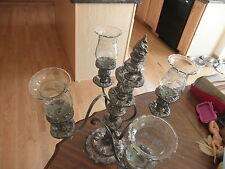 Reed & Barton Silver Plated Antique Candlestick Candelabra # 746 Holders Glass
