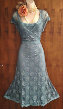 BNWOT Ethereal MONSOON *Camille*: duck egg lace Gatsby/20s/Antique dress 14/16