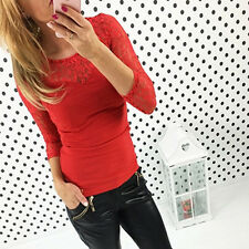 Fashion Womens Long Sleeve Stretch Tops Lace V-Neck T-Shirt Ladies Tunic Blouses