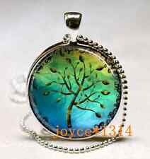 Vintage Tree of Life Cabochon Tibetan silver Glass Chain Pendant Necklace*XP-477