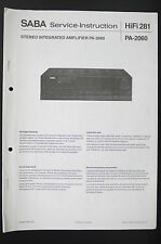 SABA Stereo Amplifier PA-2060 Service-Instruction/Manual/Diagram/Schaltplan o87