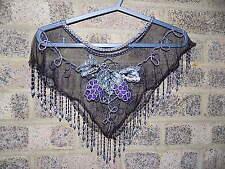 Vintage black & silver purple grapes sequin beaded cape capelet