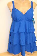 New Swim Solutions Swimsuit Bikini 1 pc attached Dress Plus Sz 20W cobalt blue