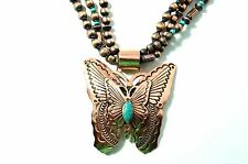 Native American Navajo Indian Jewelry Copper 3 Strand ButterFly Turqu. Necklace