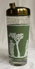 """Jeannette Glass Wedgewood Green Grecian """"Hellenic"""" Martini Mixer Cocktail Shaker"""