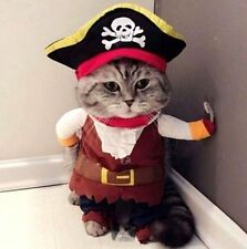 FD5099 Pet Small Cat Dog Pirate Costume Outfit Jumpsuit Cloth Halloween XS S