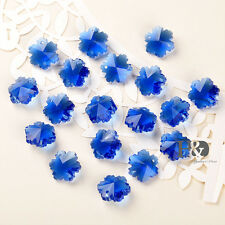 50 Blue Crystal Prisms Chandelier Decor Parts Faceted Snowflake Glass Beads 14mm