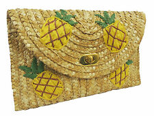 Vintage style 1940's1950's Hawaiian Tiki Tuti Fruiti Pineapple Straw Clutch Bag