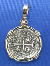 Atocha Shipwreck Coin Reproduction Set inside Solid 14k WHITE GOLD Bezel Pendant